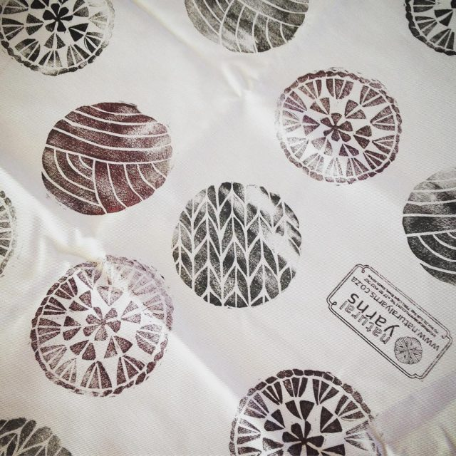 Printed some fabric for spindle bags today