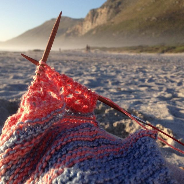 beachknitting last night scarboroughbeach organisedchaosshawl nurturingfibres ecocotton