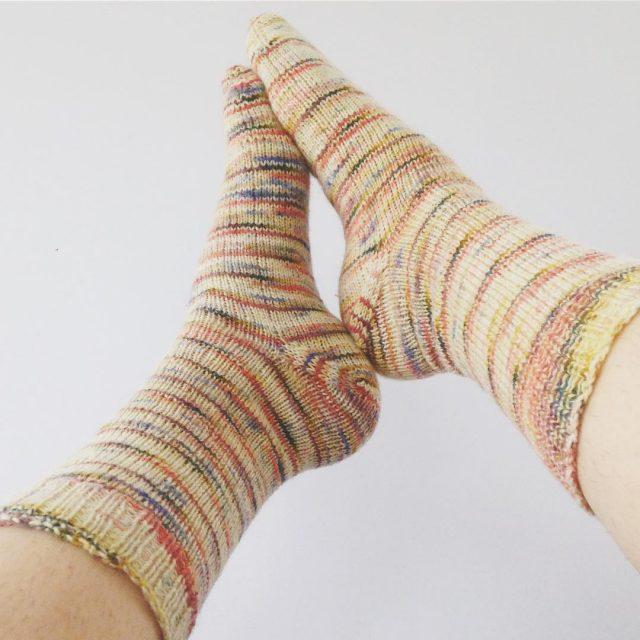 rainbowdash handknitted socks with stellarfibreworks journeysockyarn