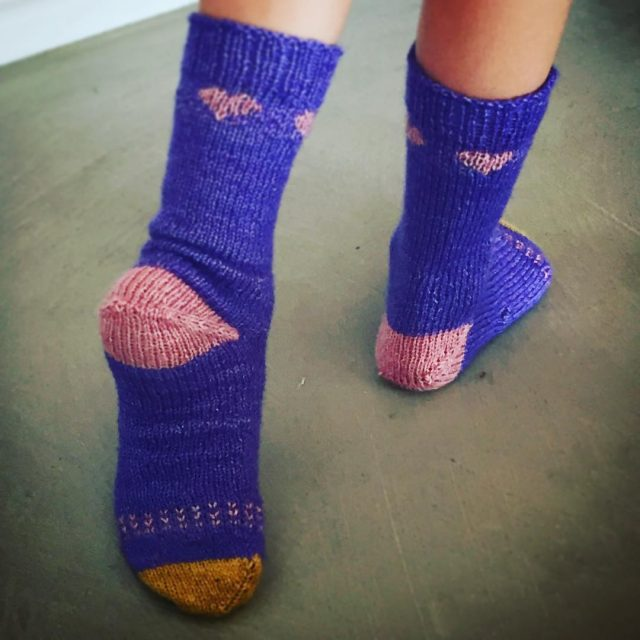 handknittedsocks for a sweet six year old on her birthdayhellip